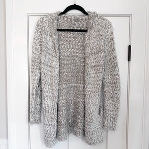 White and gray fuzzy sweater